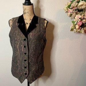 Vintage Express Tapestry and Velvet Vest